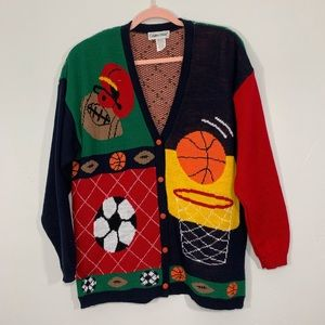 Vintage | 80's Green Sports Knit Graphic Cardigan